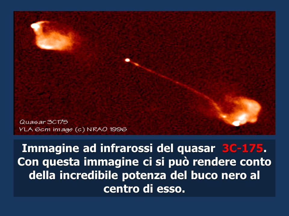 Immagine ad infrarossi del quasar 3C-175. Con questa immagine ci si può rendere conto della incredibile potenza del buco nero al centro di esso.