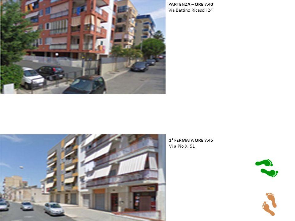 PARTENZA – ORE 7.40 Via Bettino Ricasoli 24 1° FERMATA ORE 7.45 Vi a Pio X, 51