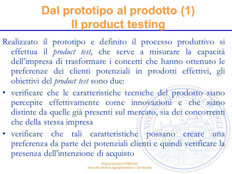 Dipartimento PRIME Area diEconomia Agroalimentare e Territoriale Dal prototipo al prodotto (1) Il product testing Realizzato il prototipo e definito i
