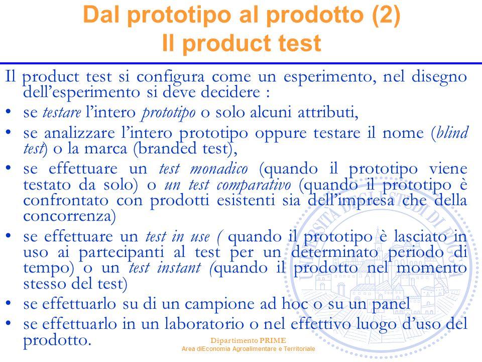 Dipartimento PRIME Area diEconomia Agroalimentare e Territoriale Dal prototipo al prodotto (2) Il product test Il product test si configura come un es