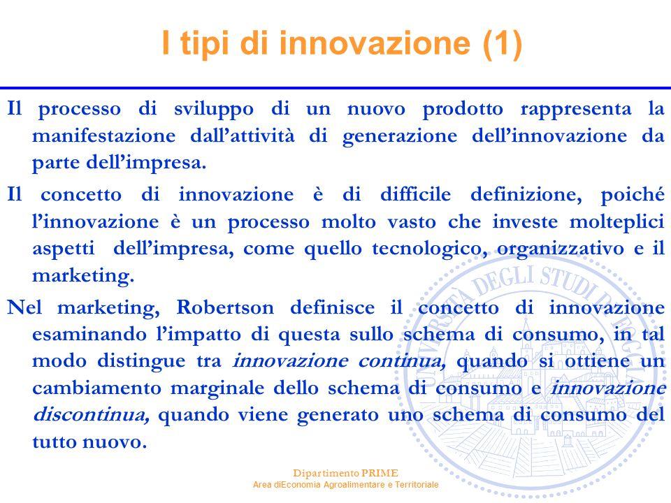 Dipartimento PRIME Area diEconomia Agroalimentare e Territoriale I tipi di innovazione (1) Il processo di sviluppo di un nuovo prodotto rappresenta la