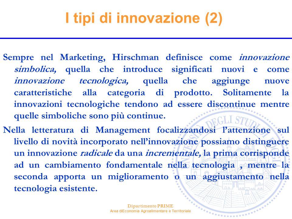 Dipartimento PRIME Area diEconomia Agroalimentare e Territoriale I tipi di innovazione (2) Sempre nel Marketing, Hirschman definisce come innovazione