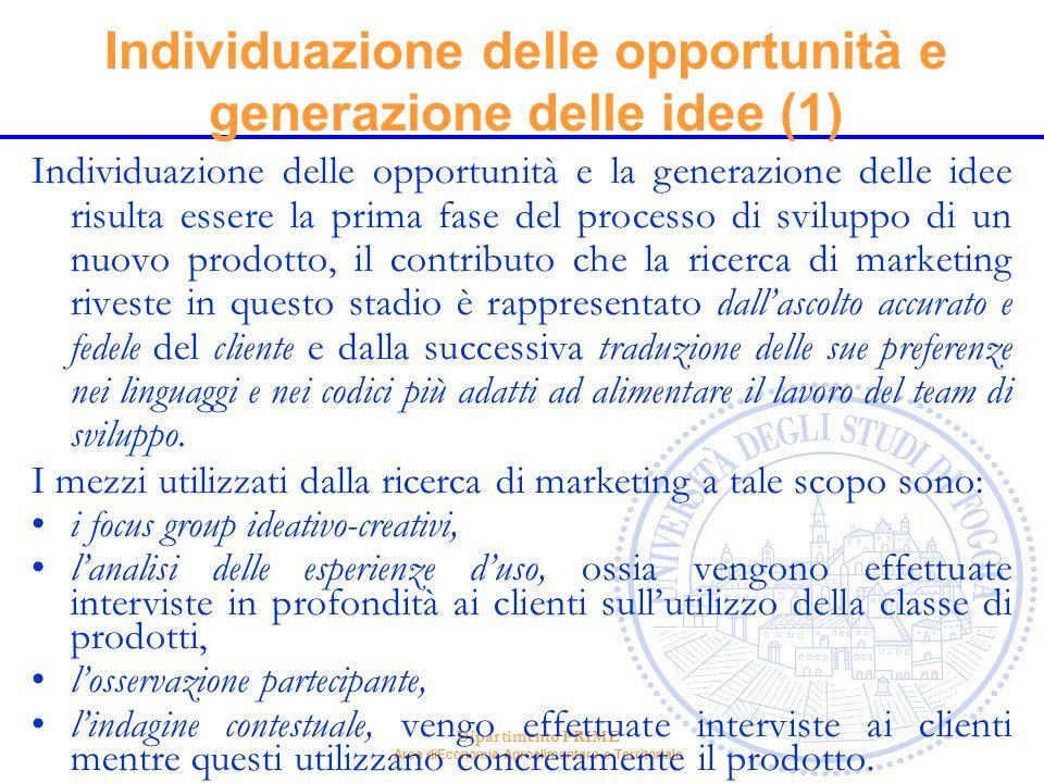 Dipartimento PRIME Area diEconomia Agroalimentare e Territoriale Individuazione delle opportunità e generazione delle idee (1) Individuazione delle op