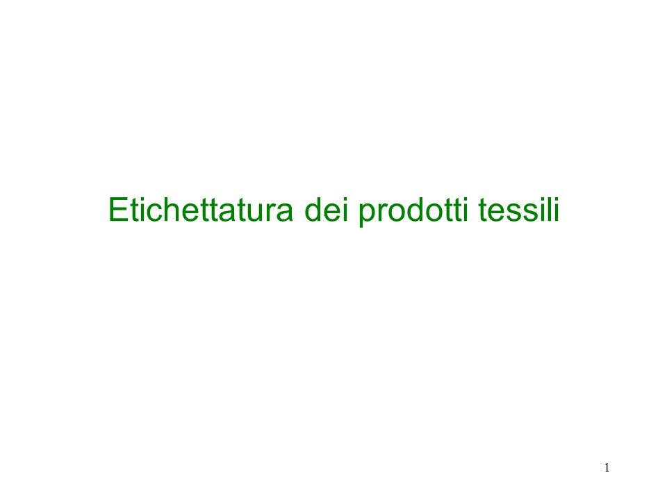 1 Etichettatura dei prodotti tessili