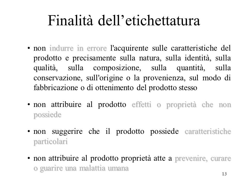 13 Finalità delletichettatura indurre in errorenon indurre in errore l'acquirente sulle caratteristiche del prodotto e precisamente sulla natura, sull