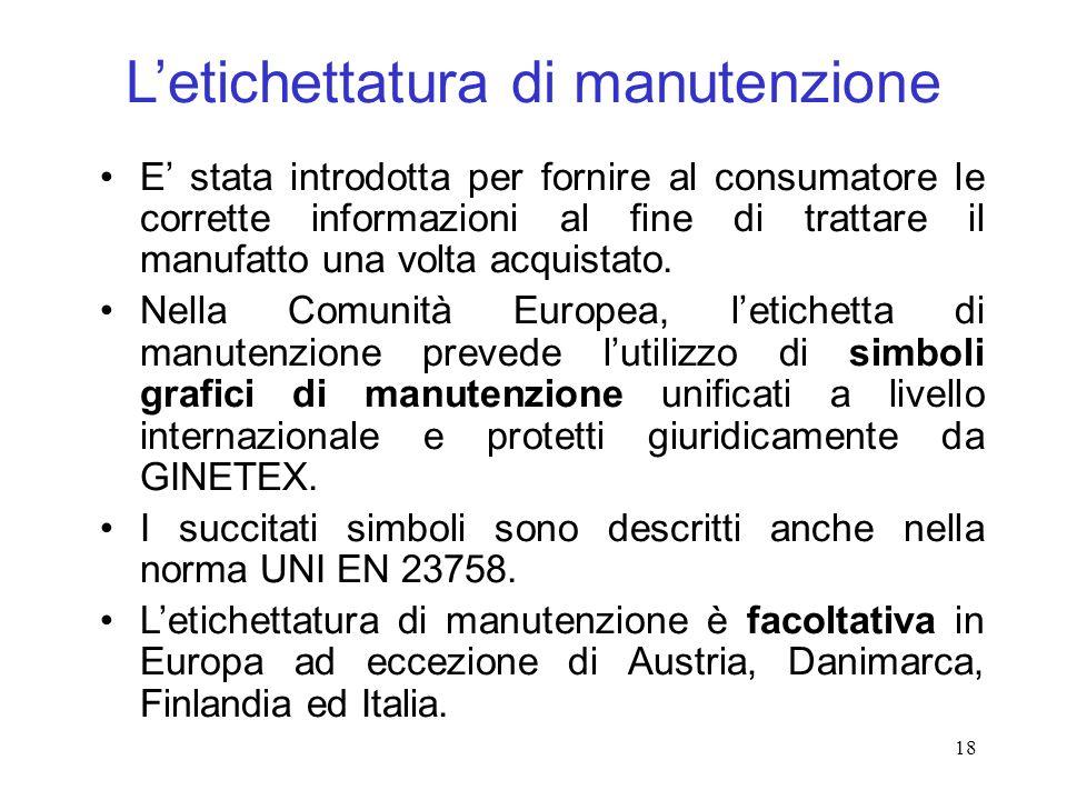 18 Letichettatura di manutenzione E stata introdotta per fornire al consumatore le corrette informazioni al fine di trattare il manufatto una volta acquistato.
