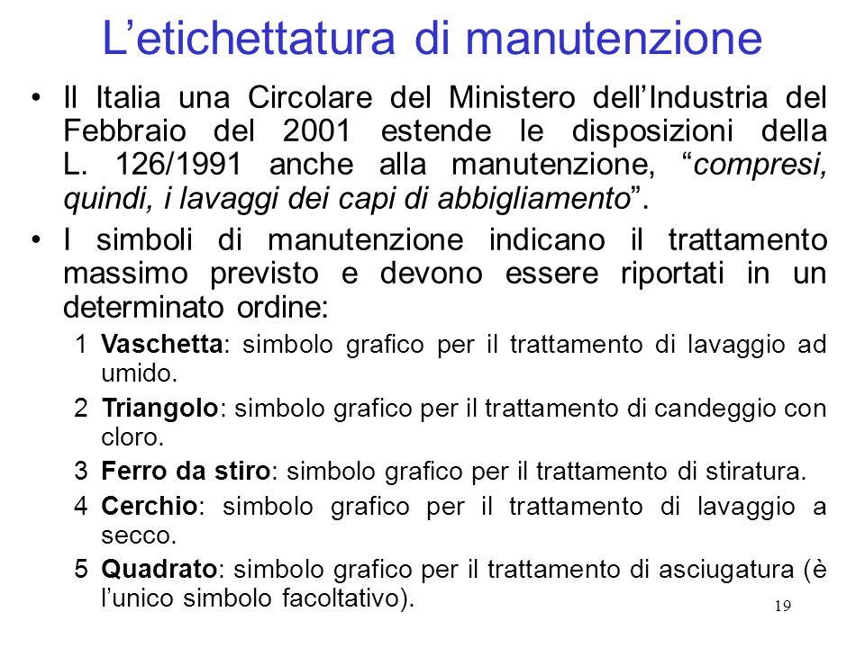 19 Letichettatura di manutenzione Il Italia una Circolare del Ministero dellIndustria del Febbraio del 2001 estende le disposizioni della L. 126/1991