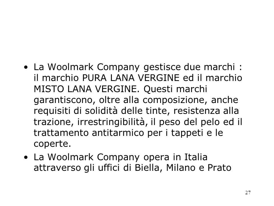 27 La Woolmark Company gestisce due marchi : il marchio PURA LANA VERGINE ed il marchio MISTO LANA VERGINE. Questi marchi garantiscono, oltre alla com