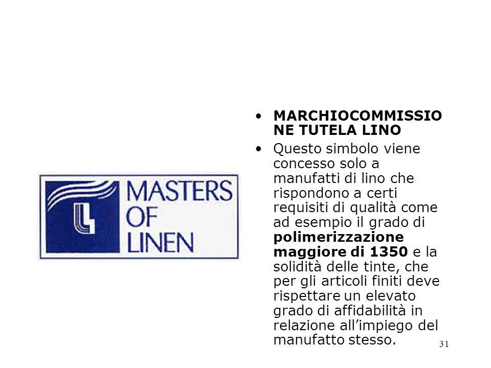 31 MARCHIOCOMMISSIO NE TUTELA LINO Questo simbolo viene concesso solo a manufatti di lino che rispondono a certi requisiti di qualità come ad esempio