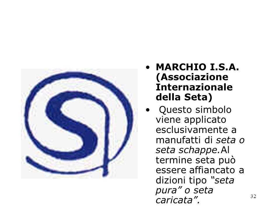 32 MARCHIO I.S.A. (Associazione Internazionale della Seta) Questo simbolo viene applicato esclusivamente a manufatti di seta o seta schappe.Al termine