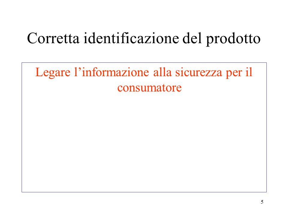 5 Corretta identificazione del prodotto Legare linformazione alla sicurezza per il consumatore