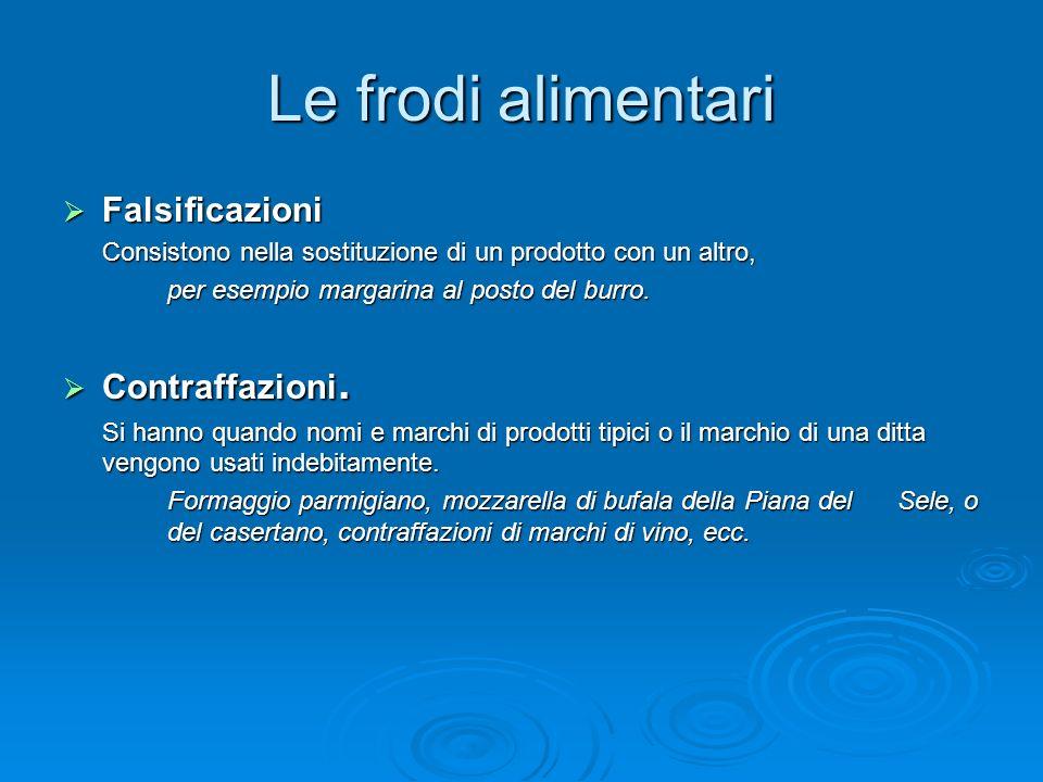 Le frodi alimentari Falsificazioni Falsificazioni Consistono nella sostituzione di un prodotto con un altro, per esempio margarina al posto del burro.