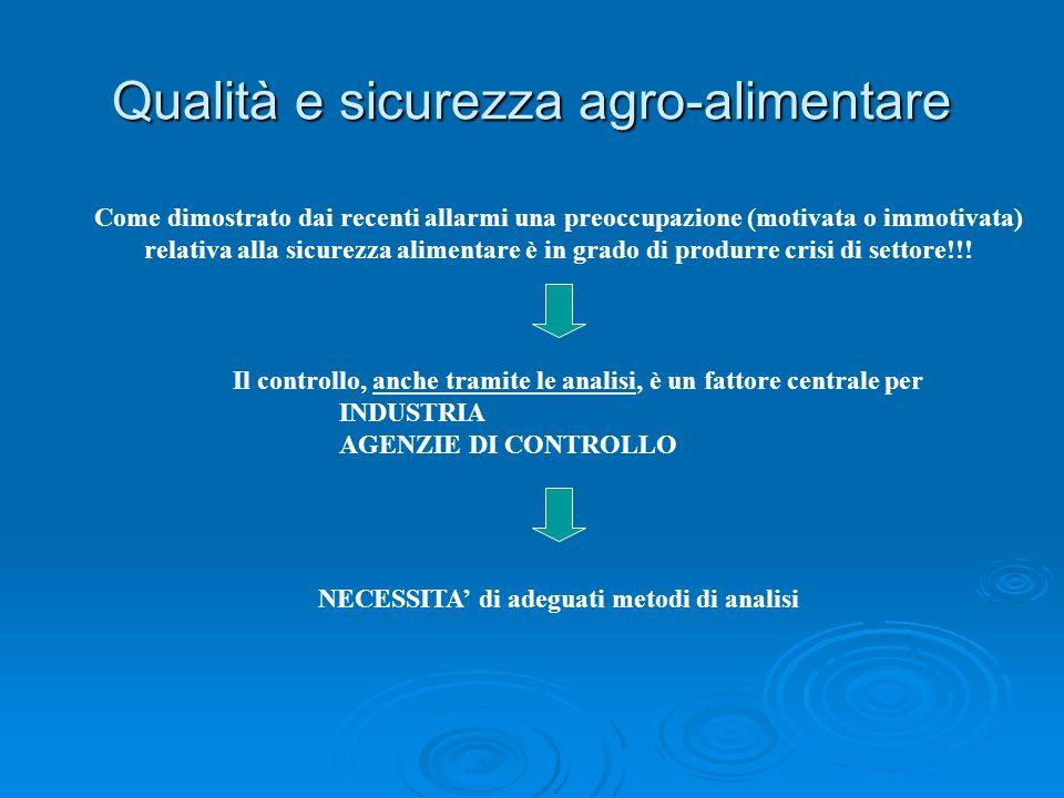 Qualità e sicurezza agro-alimentare Come dimostrato dai recenti allarmi una preoccupazione (motivata o immotivata) relativa alla sicurezza alimentare