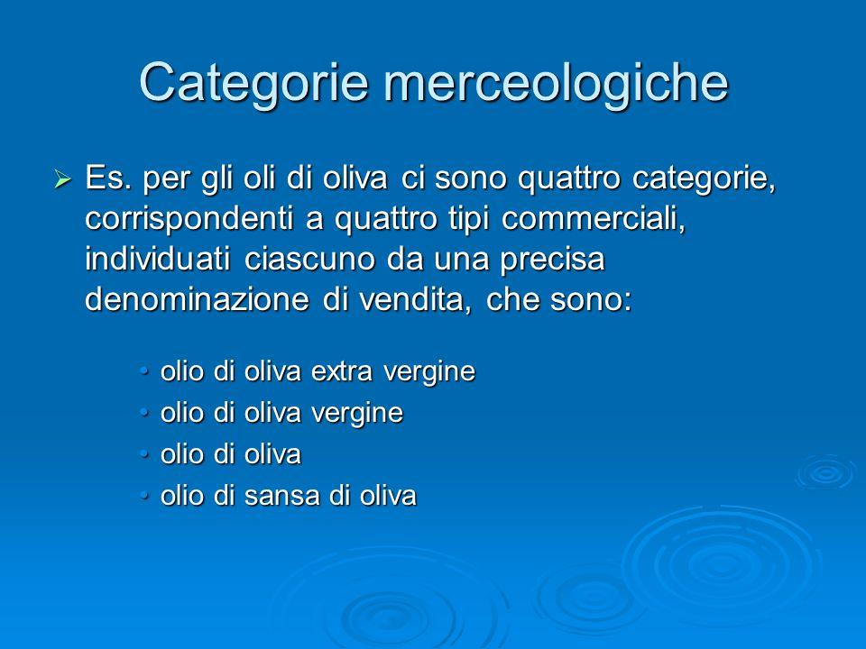 Categorie merceologiche Es. per gli oli di oliva ci sono quattro categorie, corrispondenti a quattro tipi commerciali, individuati ciascuno da una pre