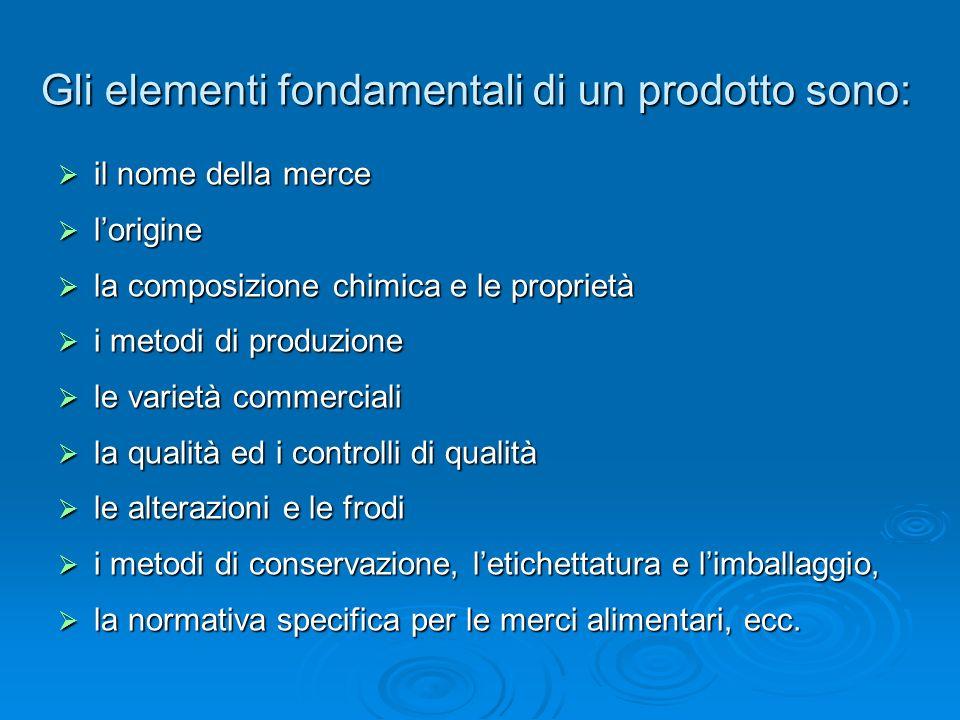 Gli elementi fondamentali di un prodotto sono: il nome della merce il nome della merce lorigine lorigine la composizione chimica e le proprietà la com