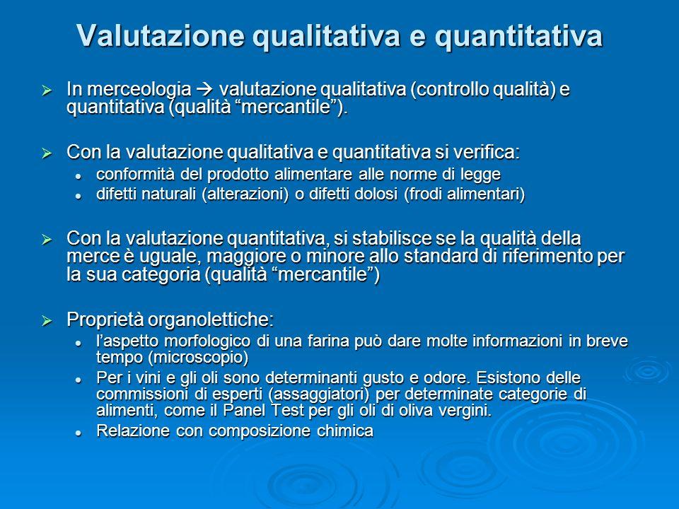 Valutazione qualitativa e quantitativa In merceologia valutazione qualitativa (controllo qualità) e quantitativa (qualità mercantile). In merceologia