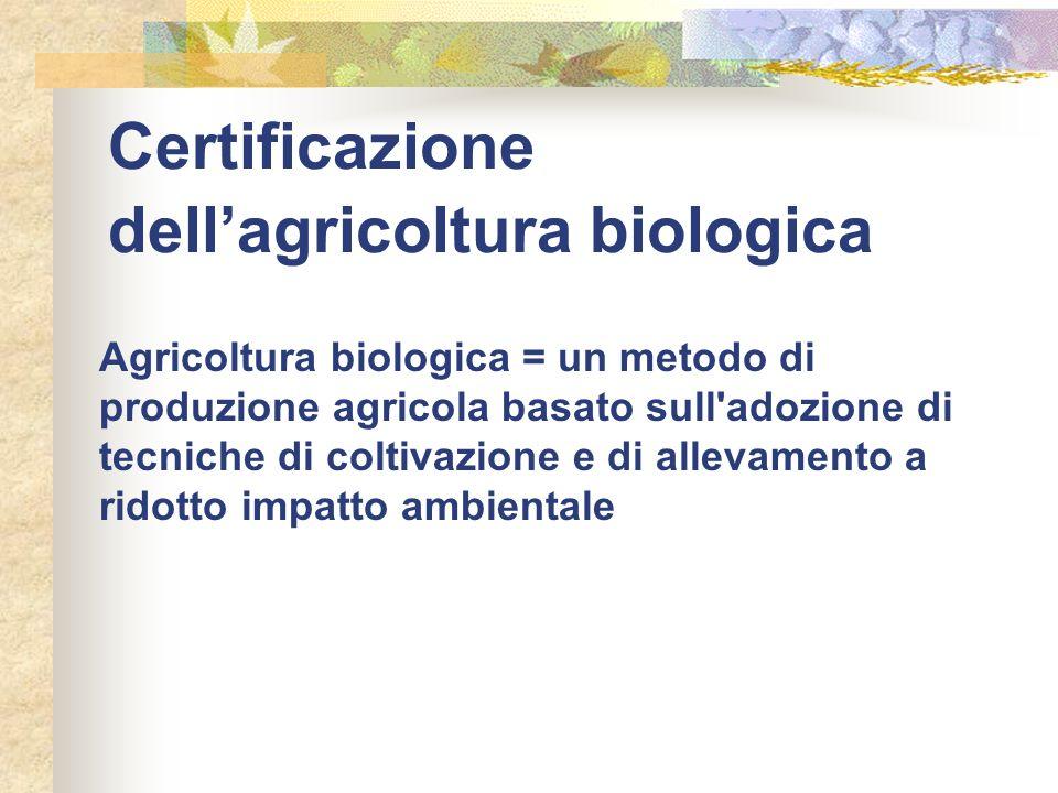 Certificazione dellagricoltura biologica Agricoltura biologica = un metodo di produzione agricola basato sull'adozione di tecniche di coltivazione e d