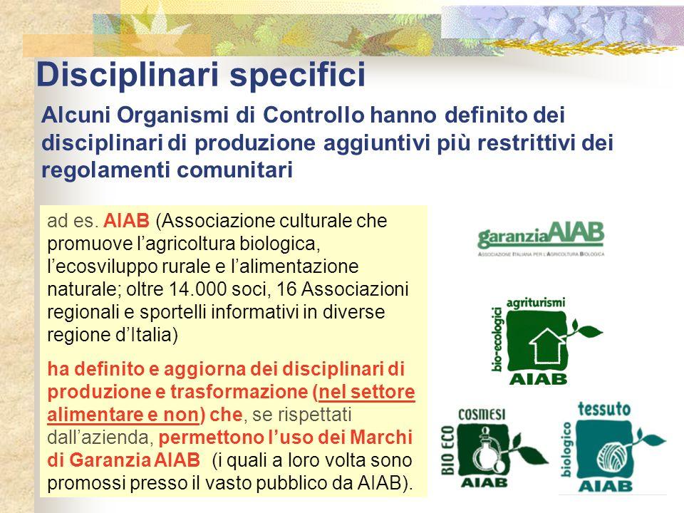 Disciplinari specifici Alcuni Organismi di Controllo hanno definito dei disciplinari di produzione aggiuntivi più restrittivi dei regolamenti comunita