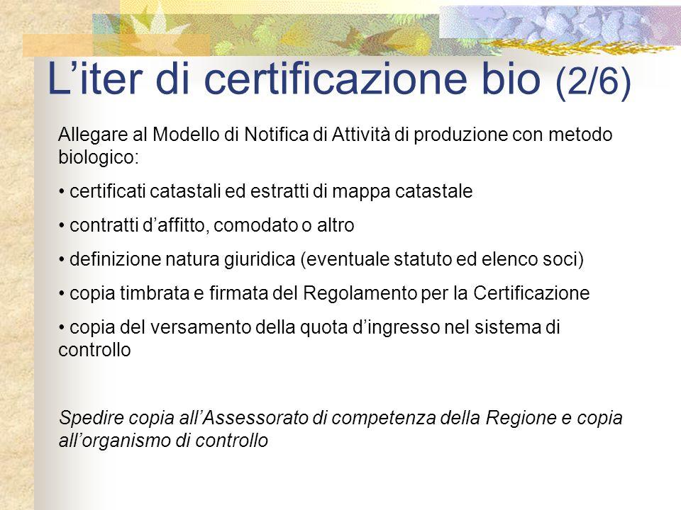 Liter di certificazione bio (2/6) Allegare al Modello di Notifica di Attività di produzione con metodo biologico: certificati catastali ed estratti di