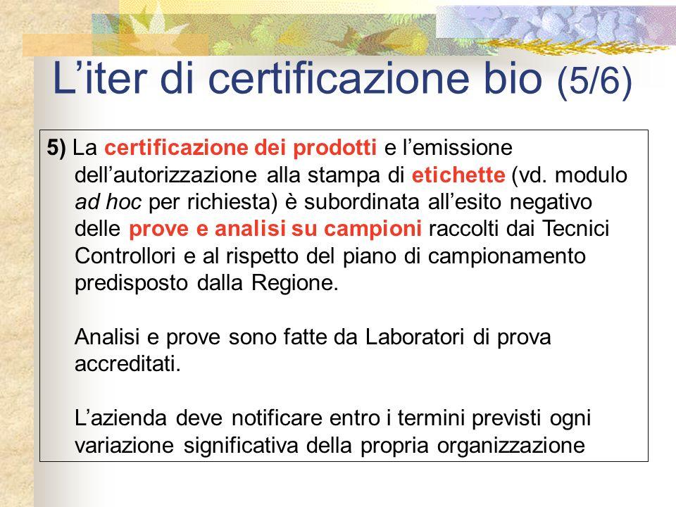 Liter di certificazione bio (5/6) 5) La certificazione dei prodotti e lemissione dellautorizzazione alla stampa di etichette (vd. modulo ad hoc per ri
