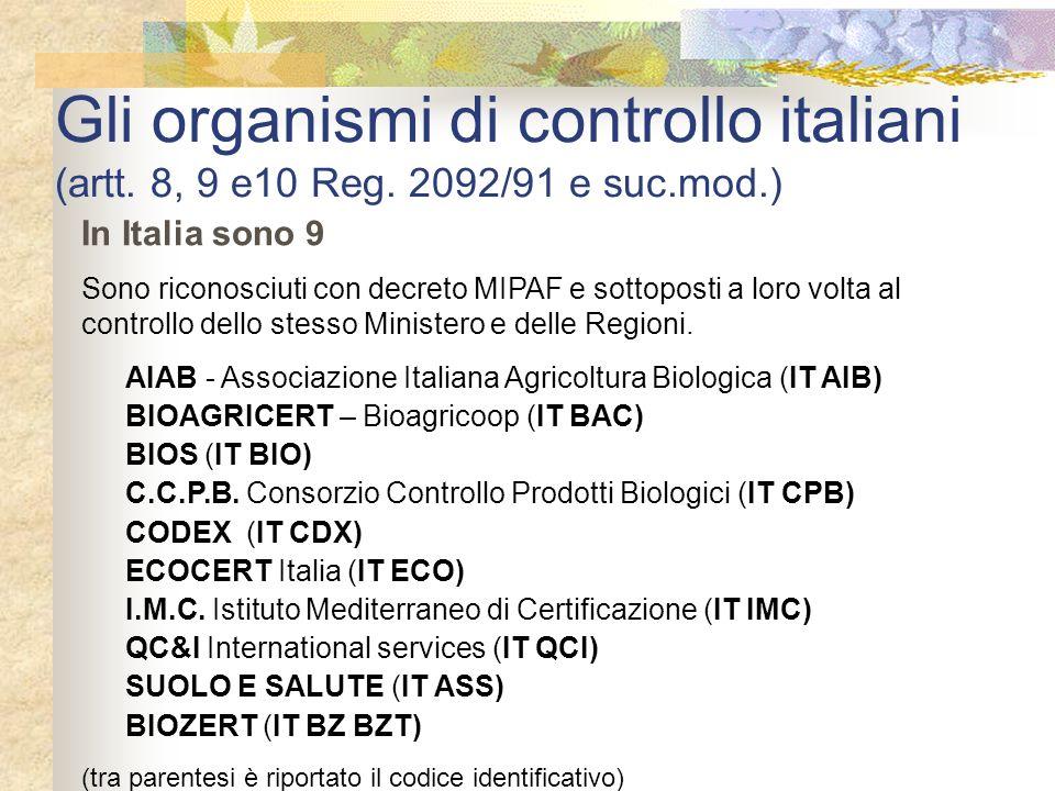 Gli organismi di controllo italiani (artt. 8, 9 e10 Reg. 2092/91 e suc.mod.) In Italia sono 9 Sono riconosciuti con decreto MIPAF e sottoposti a loro