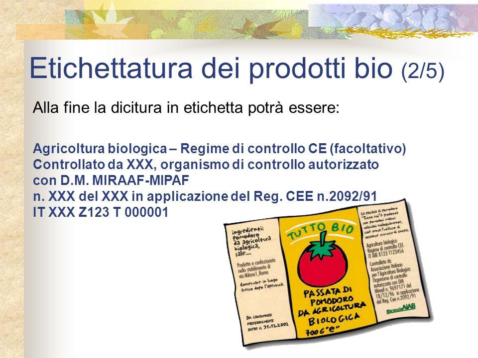 Etichettatura dei prodotti bio (2/5) Alla fine la dicitura in etichetta potrà essere: Agricoltura biologica – Regime di controllo CE (facoltativo) Con