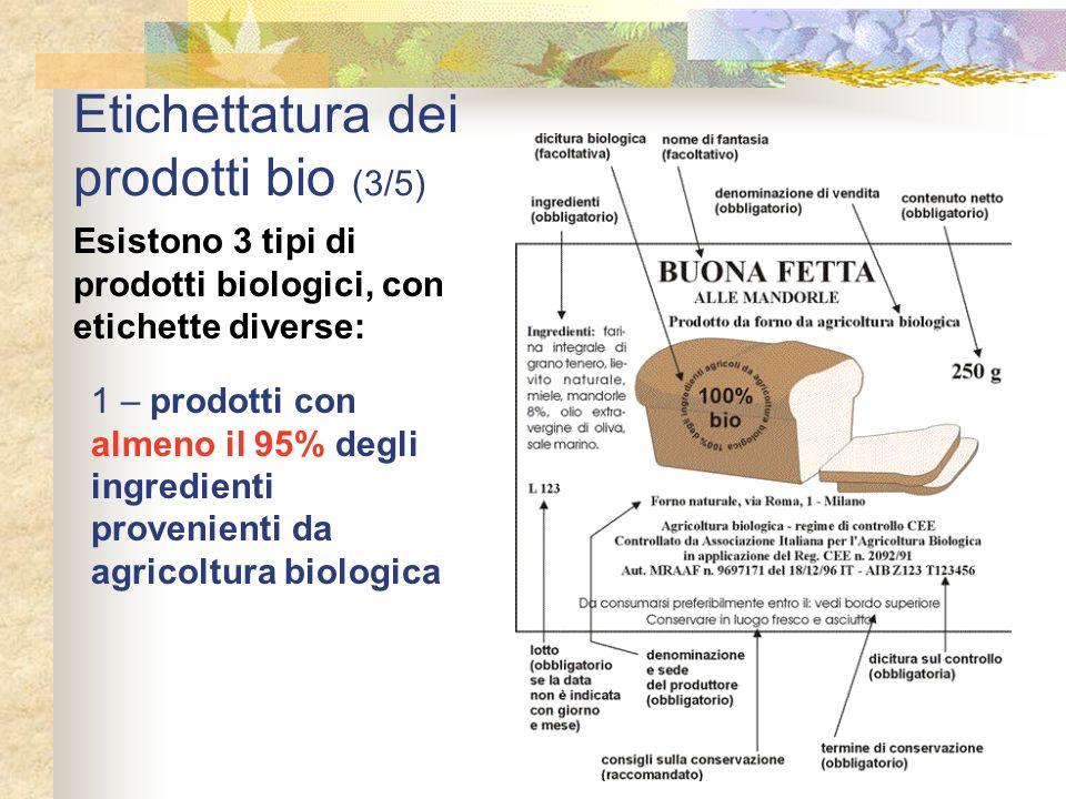 Etichettatura dei prodotti bio (3/5) Esistono 3 tipi di prodotti biologici, con etichette diverse: 1 – prodotti con almeno il 95% degli ingredienti pr