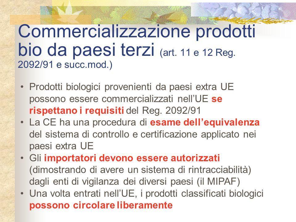 Commercializzazione prodotti bio da paesi terzi (art. 11 e 12 Reg. 2092/91 e succ.mod.) Prodotti biologici provenienti da paesi extra UE possono esser