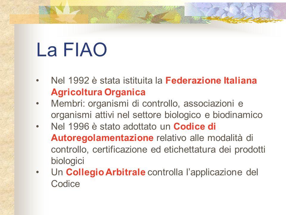 La FIAO Nel 1992 è stata istituita la Federazione Italiana Agricoltura Organica Membri: organismi di controllo, associazioni e organismi attivi nel se
