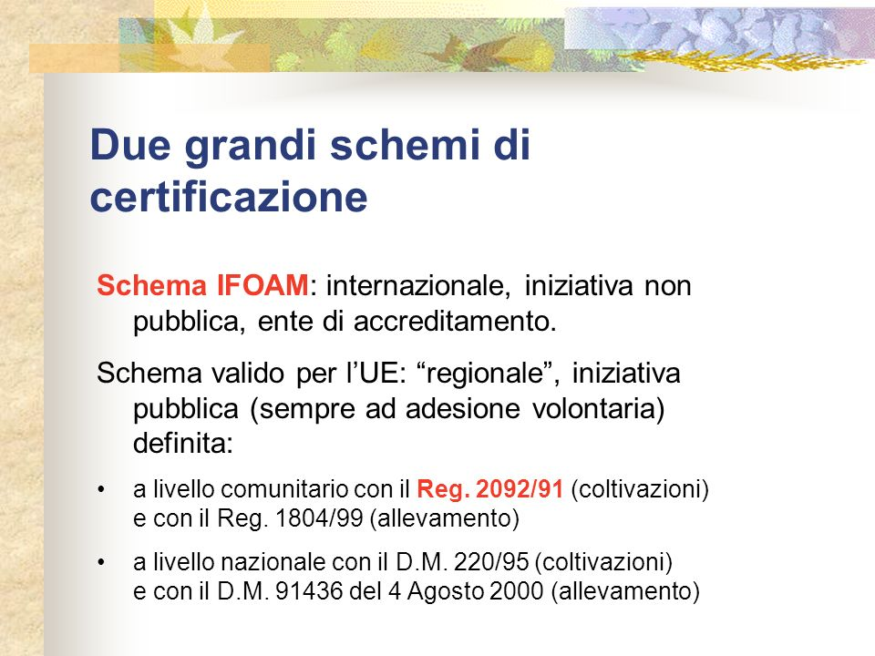 Due grandi schemi di certificazione Schema IFOAM: internazionale, iniziativa non pubblica, ente di accreditamento. Schema valido per lUE: regionale, i