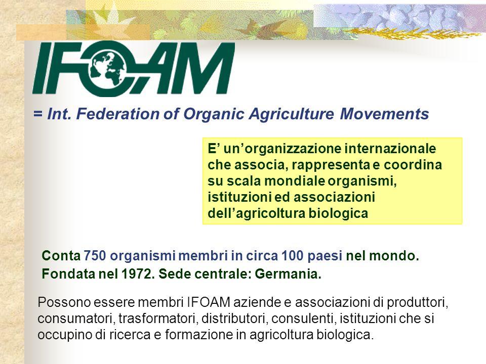 = Int. Federation of Organic Agriculture Movements Possono essere membri IFOAM aziende e associazioni di produttori, consumatori, trasformatori, distr