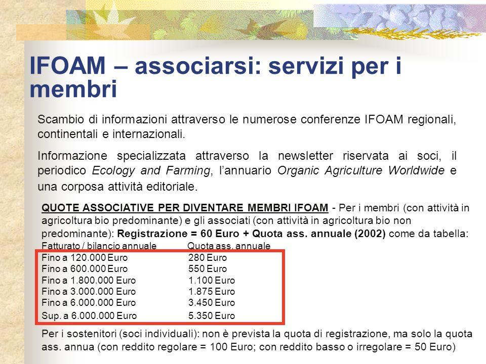 IFOAM – associarsi: servizi per i membri Scambio di informazioni attraverso le numerose conferenze IFOAM regionali, continentali e internazionali. Inf