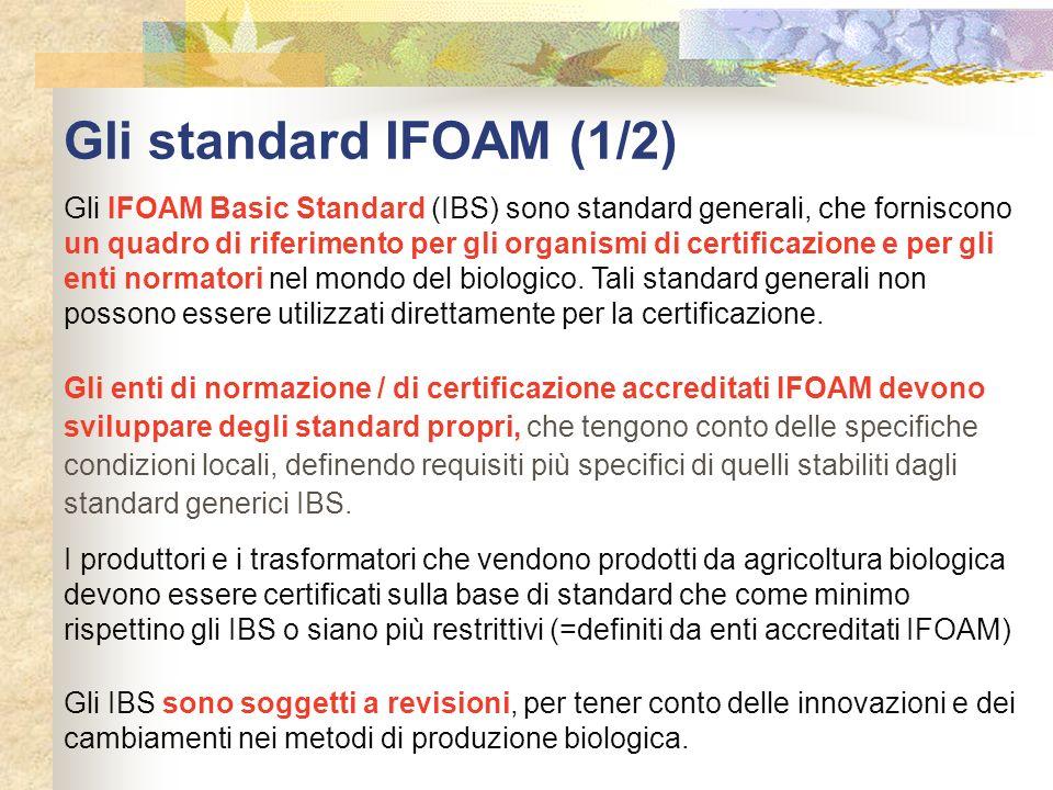 Gli standard IFOAM (1/2) Gli IFOAM Basic Standard (IBS) sono standard generali, che forniscono un quadro di riferimento per gli organismi di certifica