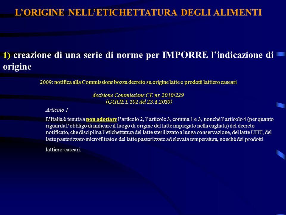LORIGINE NELLETICHETTATURA DEGLI ALIMENTI 1) creazione di una serie di norme per IMPORRE lindicazione di origine 2009: notifica alla Commissione bozza