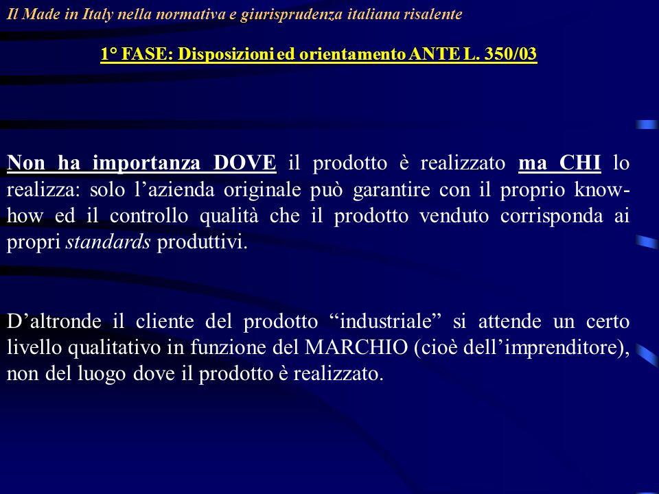 Il Made in Italy nella normativa e giurisprudenza italiana risalente 1° FASE: Disposizioni ed orientamento ANTE L. 350/03 Non ha importanza DOVE il pr