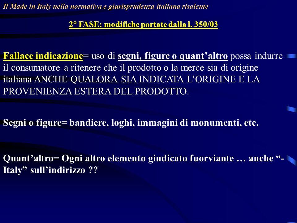 Il Made in Italy nella normativa e giurisprudenza italiana risalente 2° FASE: modifiche portate dalla l. 350/03 Fallace indicazione= uso di segni, fig