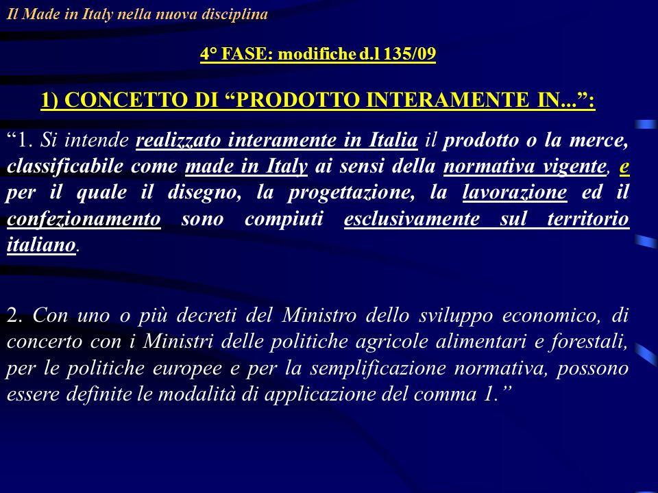 Il Made in Italy nella nuova disciplina 4° FASE: modifiche d.l 135/09 1) CONCETTO DI PRODOTTO INTERAMENTE IN...: 1.