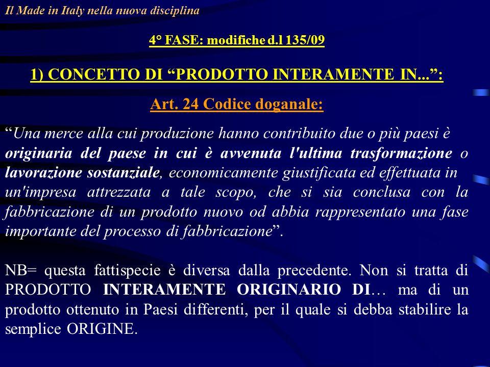 Il Made in Italy nella nuova disciplina 4° FASE: modifiche d.l 135/09 1) CONCETTO DI PRODOTTO INTERAMENTE IN...: Art.