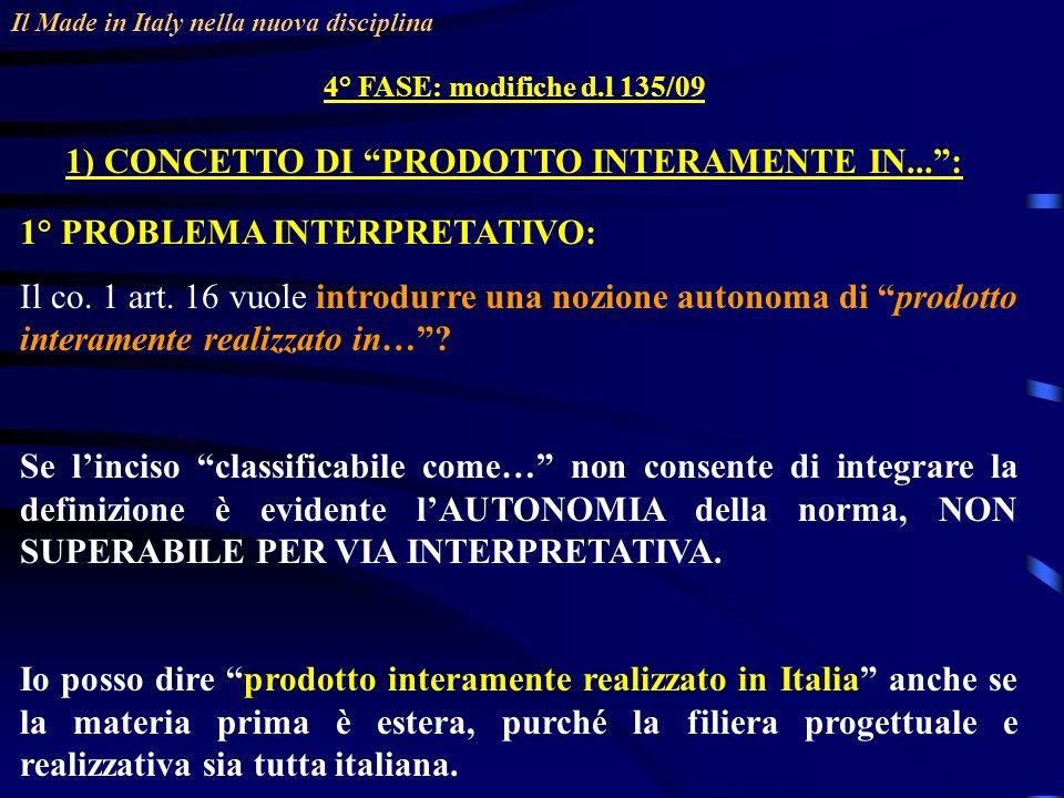 Il Made in Italy nella nuova disciplina 4° FASE: modifiche d.l 135/09 1) CONCETTO DI PRODOTTO INTERAMENTE IN...: 1° PROBLEMA INTERPRETATIVO: Il co.