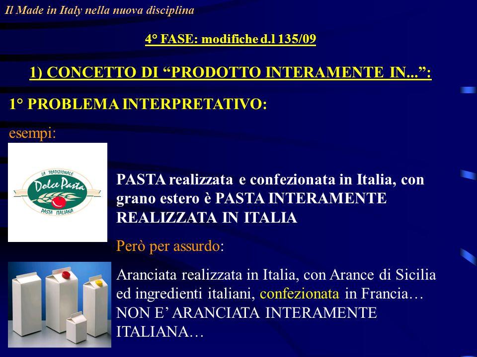 Il Made in Italy nella nuova disciplina 4° FASE: modifiche d.l 135/09 1) CONCETTO DI PRODOTTO INTERAMENTE IN...: 1° PROBLEMA INTERPRETATIVO: esempi: PASTA realizzata e confezionata in Italia, con grano estero è PASTA INTERAMENTE REALIZZATA IN ITALIA Però per assurdo: Aranciata realizzata in Italia, con Arance di Sicilia ed ingredienti italiani, confezionata in Francia… NON E ARANCIATA INTERAMENTE ITALIANA…