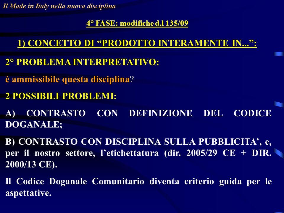 Il Made in Italy nella nuova disciplina 4° FASE: modifiche d.l 135/09 1) CONCETTO DI PRODOTTO INTERAMENTE IN...: 2° PROBLEMA INTERPRETATIVO: è ammissibile questa disciplina.