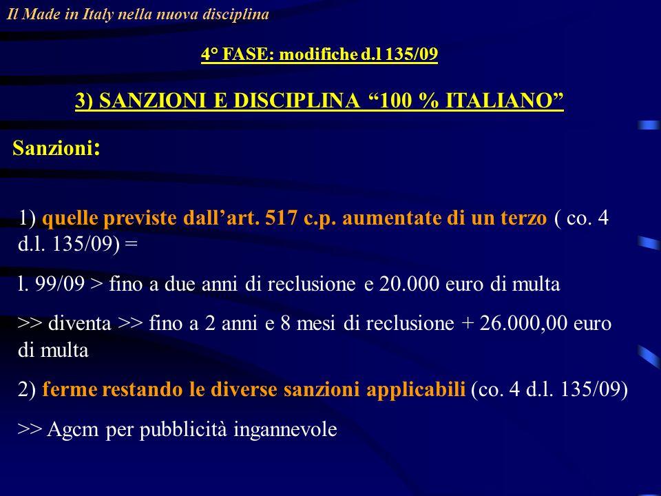 Il Made in Italy nella nuova disciplina 4° FASE: modifiche d.l 135/09 3) SANZIONI E DISCIPLINA 100 % ITALIANO Sanzioni : 1) quelle previste dallart.