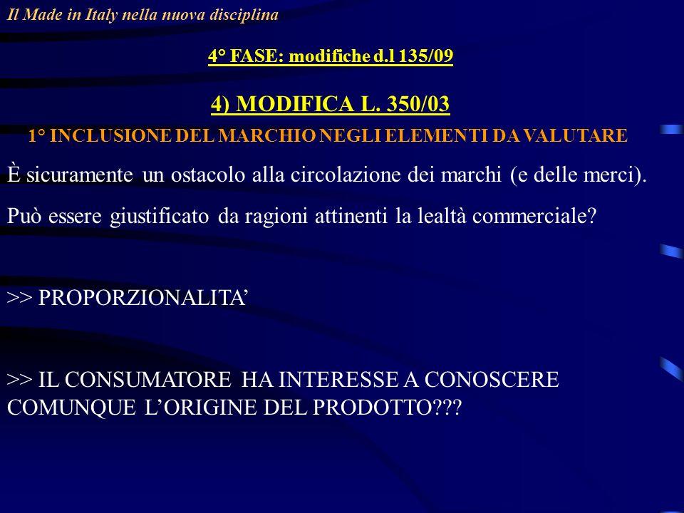 Il Made in Italy nella nuova disciplina 4° FASE: modifiche d.l 135/09 4) MODIFICA L. 350/03 1° INCLUSIONE DEL MARCHIO NEGLI ELEMENTI DA VALUTARE È sic