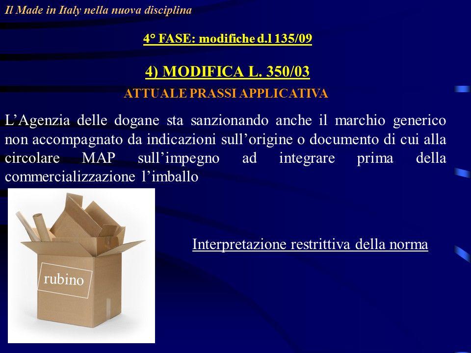 Il Made in Italy nella nuova disciplina 4° FASE: modifiche d.l 135/09 4) MODIFICA L. 350/03 ATTUALE PRASSI APPLICATIVA LAgenzia delle dogane sta sanzi