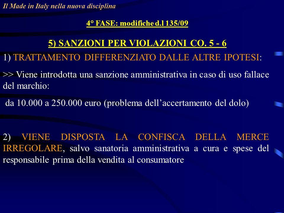 Il Made in Italy nella nuova disciplina 4° FASE: modifiche d.l 135/09 5) SANZIONI PER VIOLAZIONI CO.