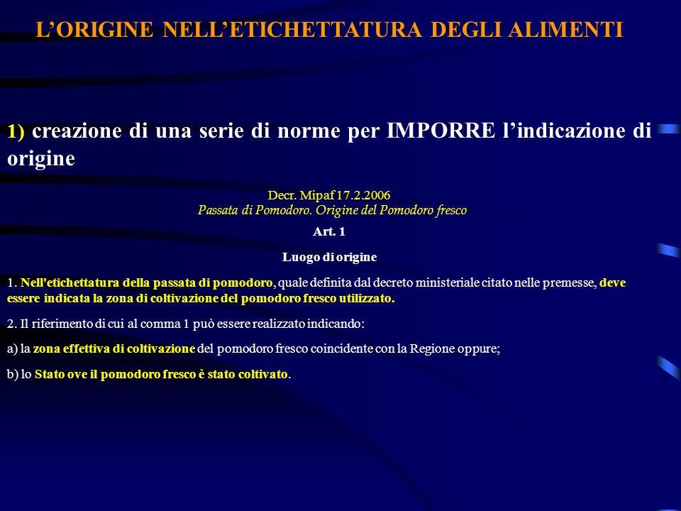 LORIGINE NELLETICHETTATURA DEGLI ALIMENTI 1) creazione di una serie di norme per IMPORRE lindicazione di origine Decr. Mipaf 17.2.2006 Passata di Pomo