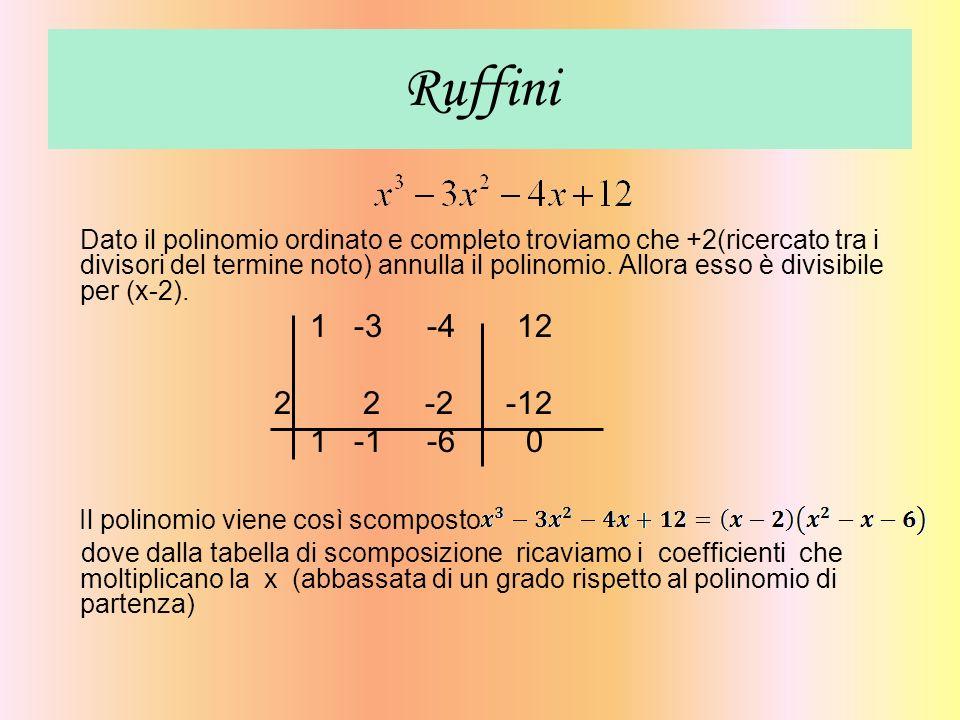Ruffini Dato il polinomio ordinato e completo troviamo che +2(ricercato tra i divisori del termine noto) annulla il polinomio. Allora esso è divisibil