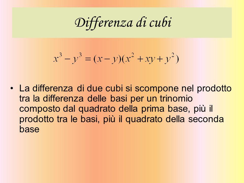 Differenza di cubi La differenza di due cubi si scompone nel prodotto tra la differenza delle basi per un trinomio composto dal quadrato della prima b