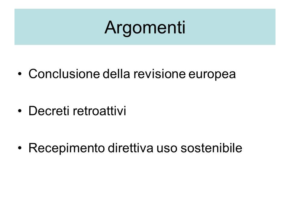 Argomenti Conclusione della revisione europea Decreti retroattivi Recepimento direttiva uso sostenibile