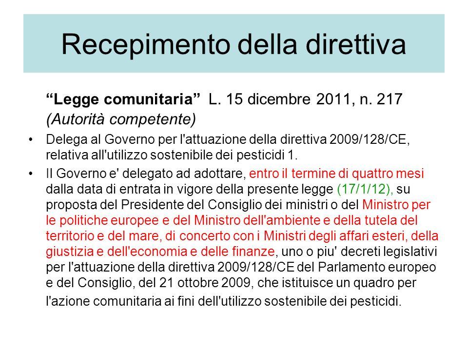Recepimento della direttiva Legge comunitaria L.15 dicembre 2011, n.
